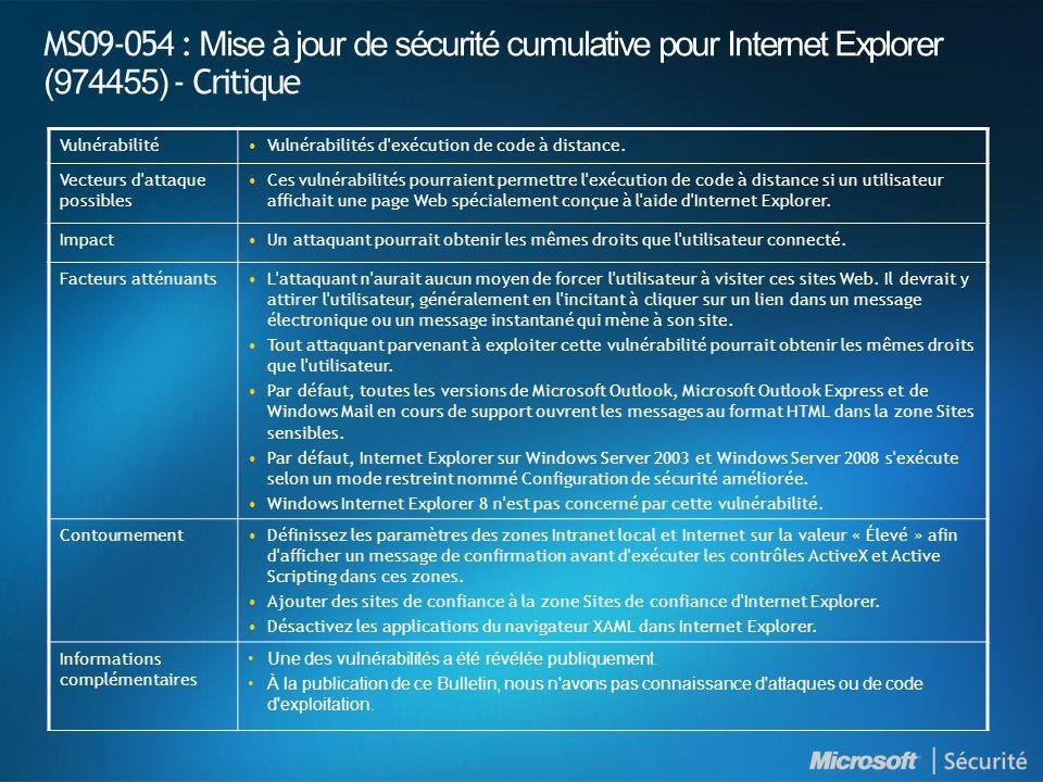 MS09-054 : Mise à jour de sécurité cumulative pour Internet Explorer (974455) - Critique
