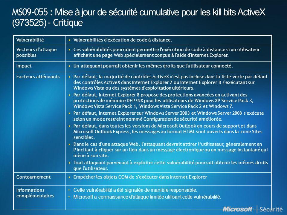 MS09-055 : Mise à jour de sécurité cumulative pour les kill bits ActiveX (973525) - Critique