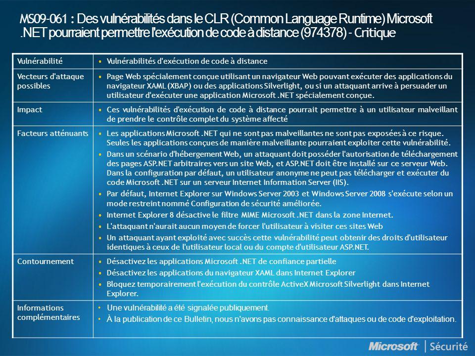 MS09-061 : Des vulnérabilités dans le CLR (Common Language Runtime) Microsoft .NET pourraient permettre l exécution de code à distance (974378) - Critique
