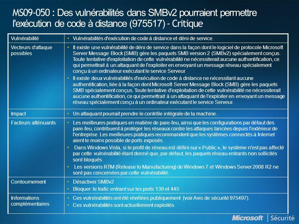 MS09-050 : Des vulnérabilités dans SMBv2 pourraient permettre l exécution de code à distance (975517) - Critique