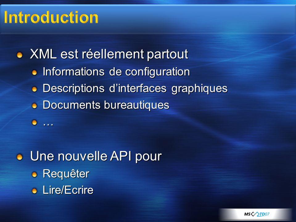 Introduction XML est réellement partout Une nouvelle API pour