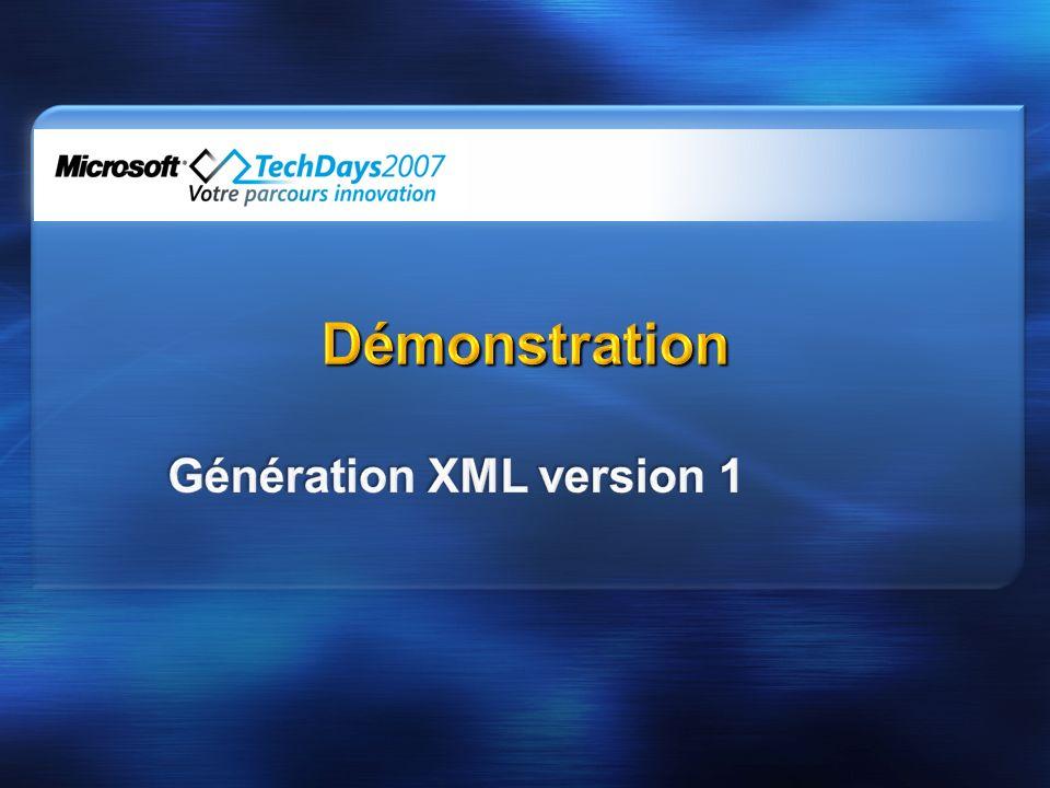Génération XML version 1