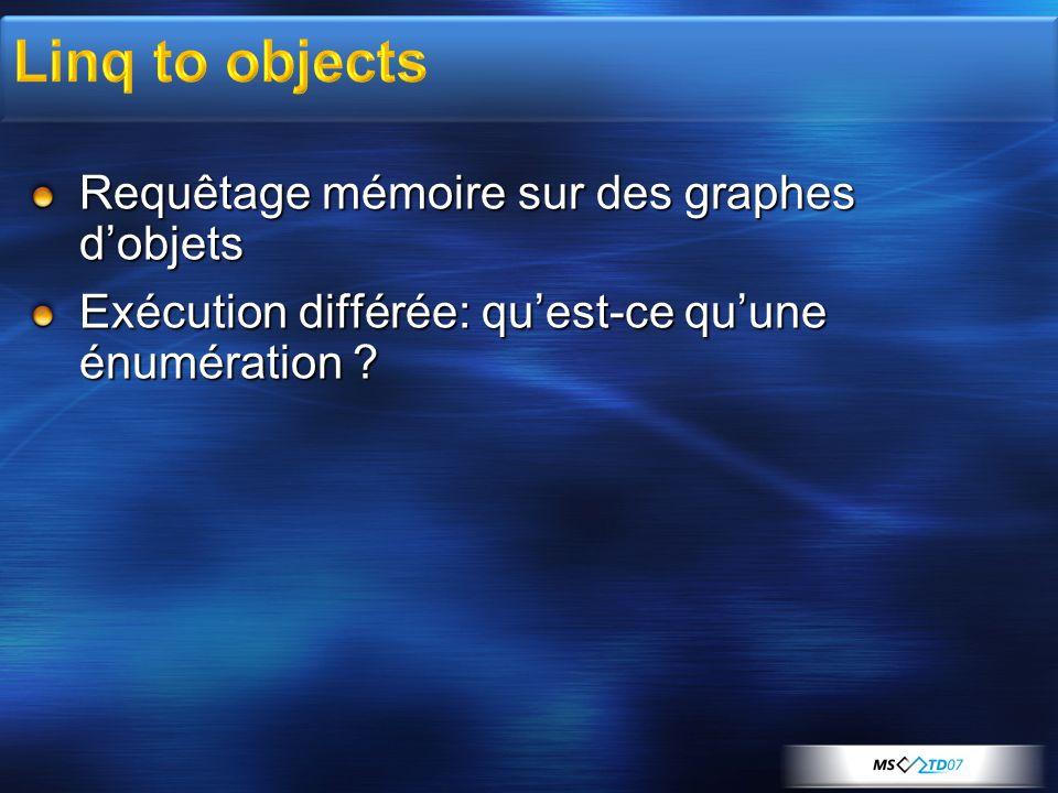 Linq to objects Requêtage mémoire sur des graphes d'objets
