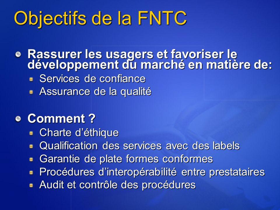 Objectifs de la FNTC Rassurer les usagers et favoriser le développement du marché en matière de: Services de confiance.