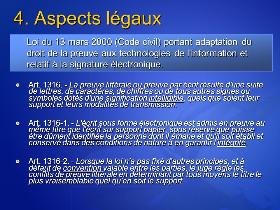 4. Aspects légaux