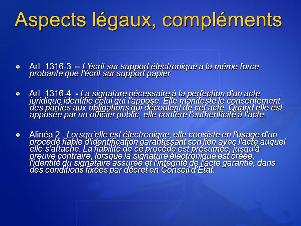 Aspects légaux, compléments
