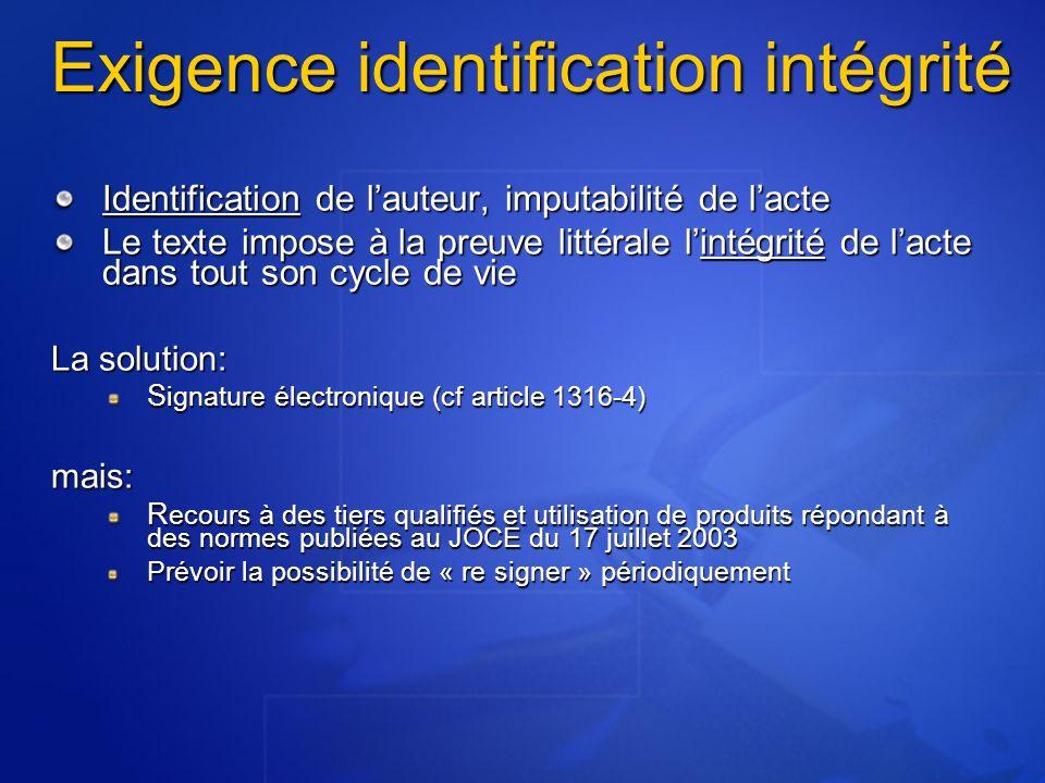 Exigence identification intégrité