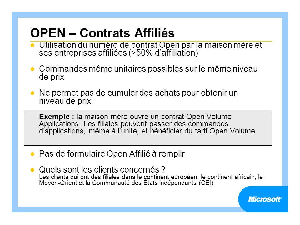 OPEN – Contrats Affiliés