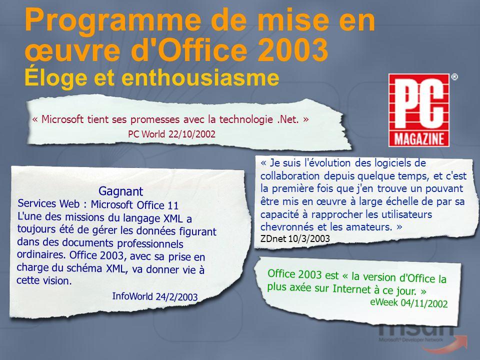 Programme de mise en œuvre d Office 2003 Éloge et enthousiasme