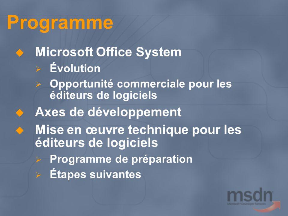 Programme Microsoft Office System Axes de développement