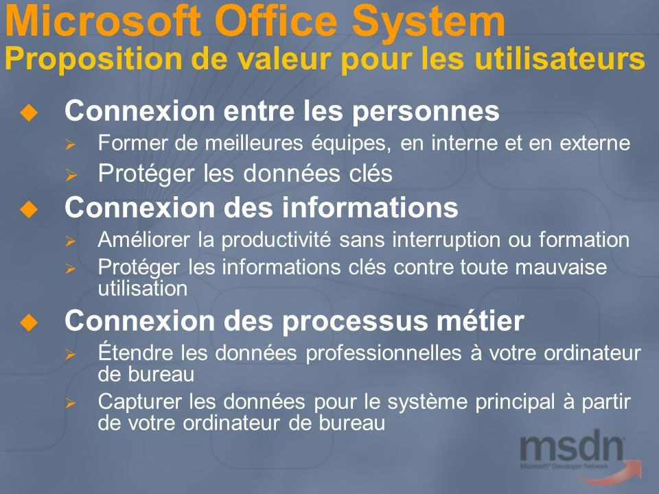 Microsoft Office System Proposition de valeur pour les utilisateurs