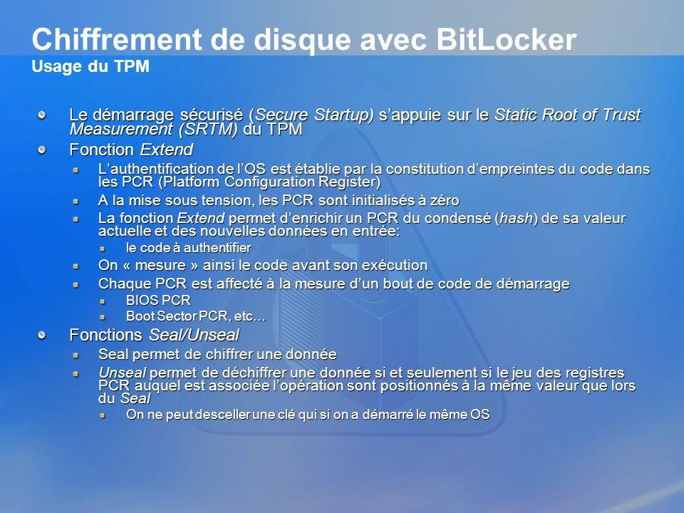 Chiffrement de disque avec BitLocker Usage du TPM