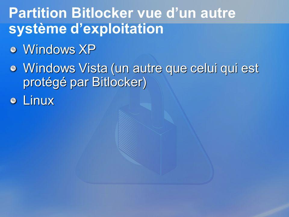 Partition Bitlocker vue d'un autre système d'exploitation