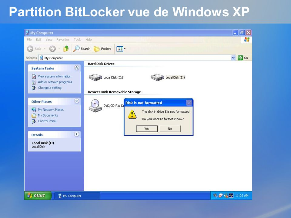 Partition BitLocker vue de Windows XP