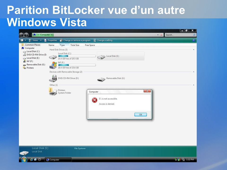 Parition BitLocker vue d'un autre Windows Vista