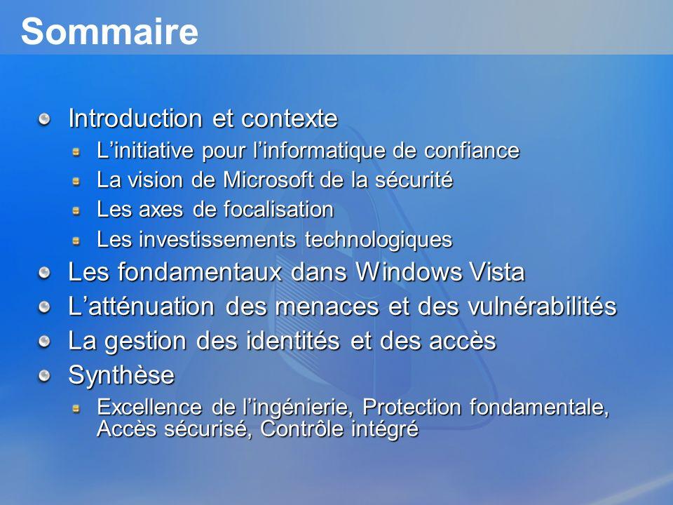 Sommaire Introduction et contexte Les fondamentaux dans Windows Vista