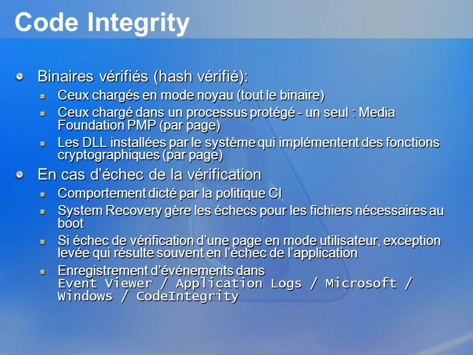 Code Integrity Binaires vérifiés (hash vérifié):