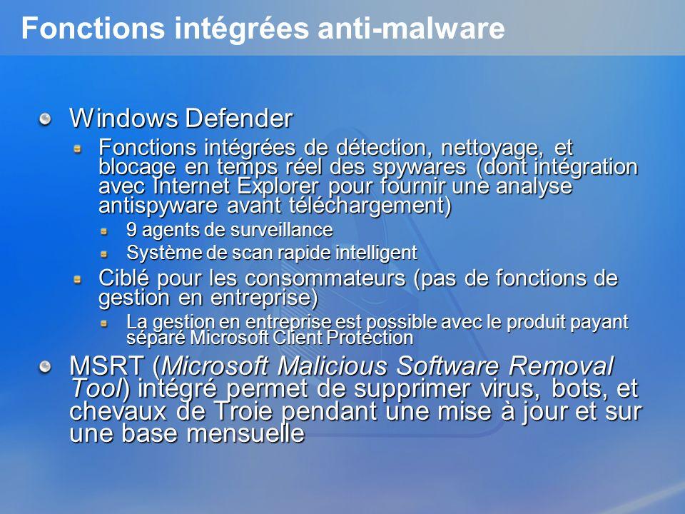Fonctions intégrées anti-malware