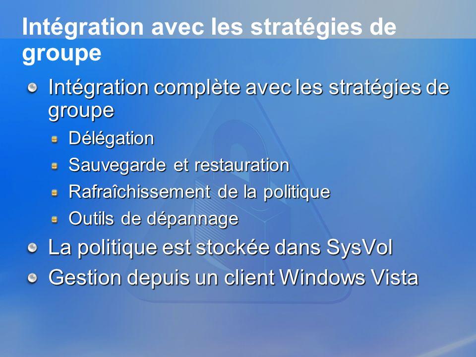 Intégration avec les stratégies de groupe
