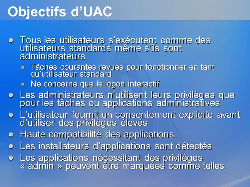 3/26/2017 3:57 PM Objectifs d'UAC. Tous les utilisateurs s'exécutent comme des utilisateurs standards même s'ils sont administrateurs.
