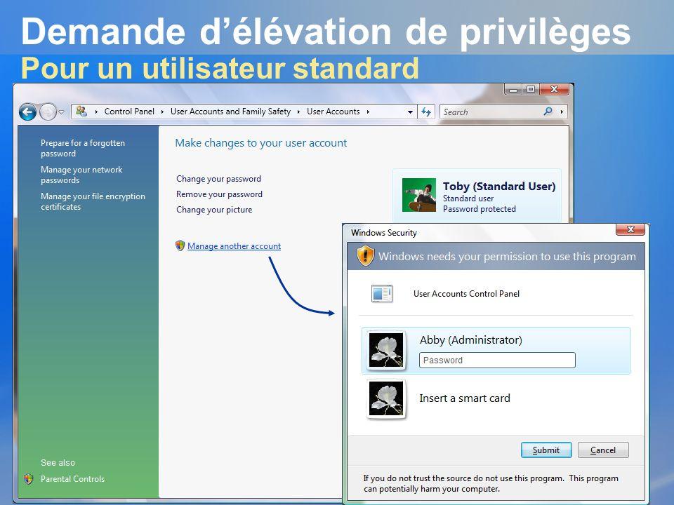 Demande d'élévation de privilèges Pour un utilisateur standard