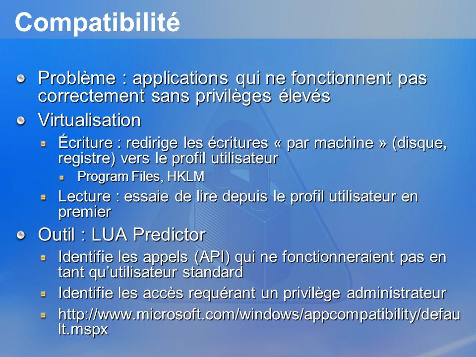 Compatibilité Problème : applications qui ne fonctionnent pas correctement sans privilèges élevés. Virtualisation.