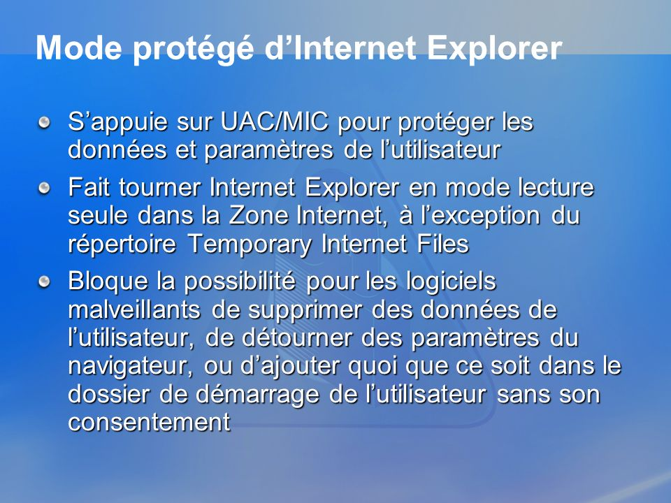 Mode protégé d'Internet Explorer