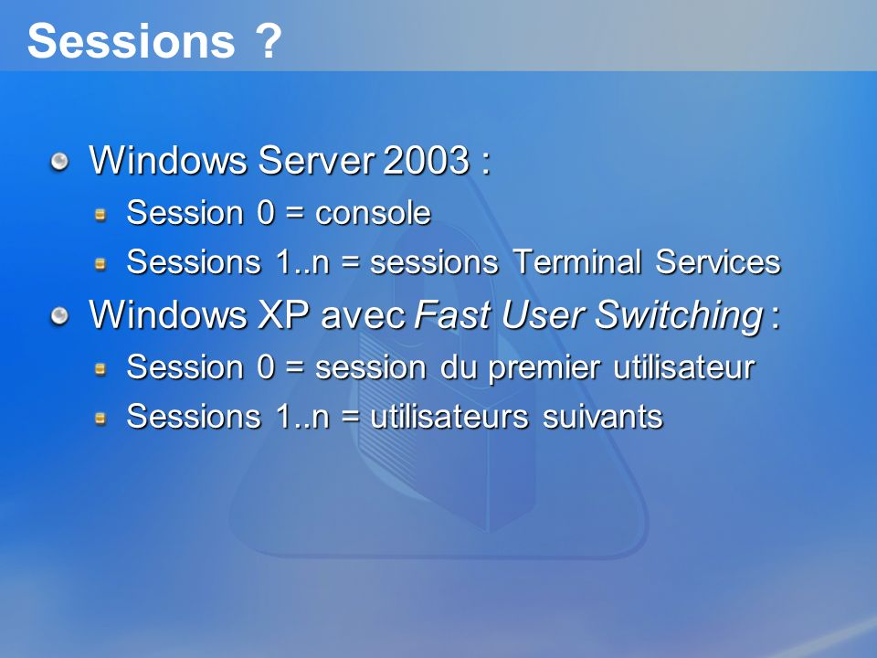Sessions Windows Server 2003 : Windows XP avec Fast User Switching :