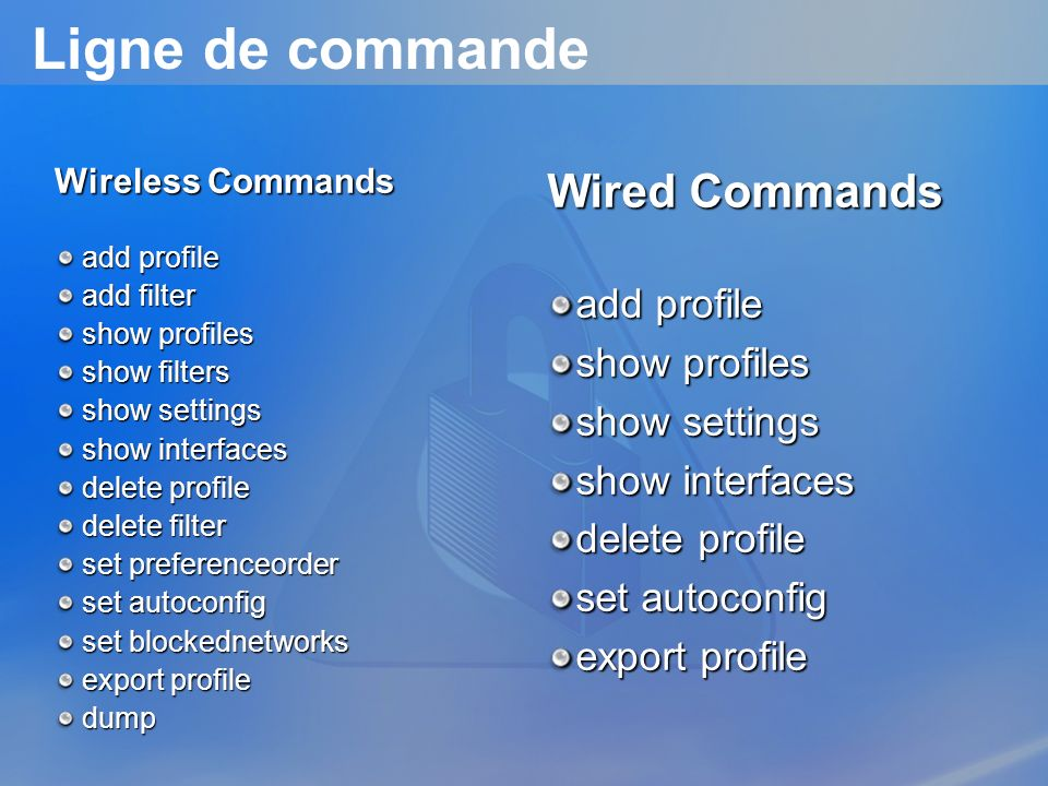 Ligne de commande Wired Commands add profile show profiles