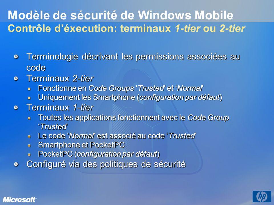 3/26/2017 3:57 PM Modèle de sécurité de Windows Mobile Contrôle d'éxecution: terminaux 1-tier ou 2-tier.