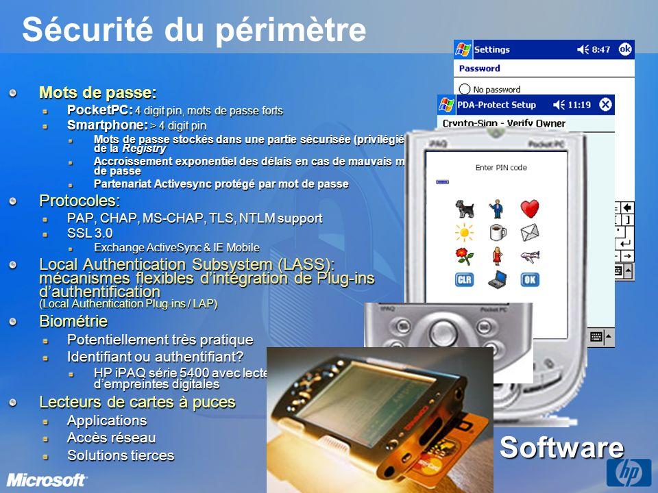 Sécurité du périmètre Pointsec Software Mots de passe: Protocoles: