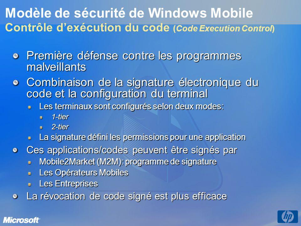 Modèle de sécurité de Windows Mobile Contrôle d'exécution du code (Code Execution Control)