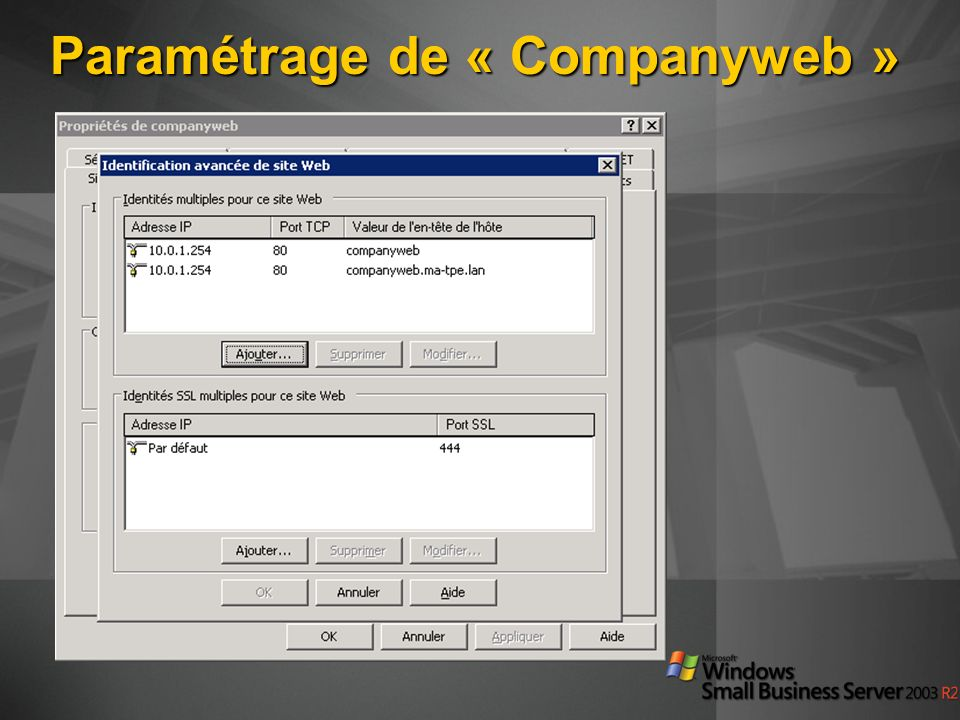 Paramétrage de « Companyweb »