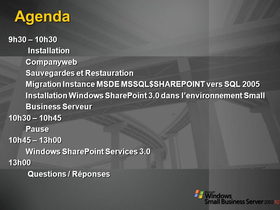 Agenda 9h30 – 10h30 Installation Companyweb