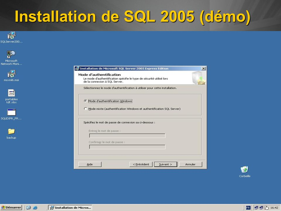 Installation de SQL 2005 (démo)