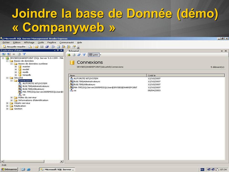 Joindre la base de Donnée (démo) « Companyweb »