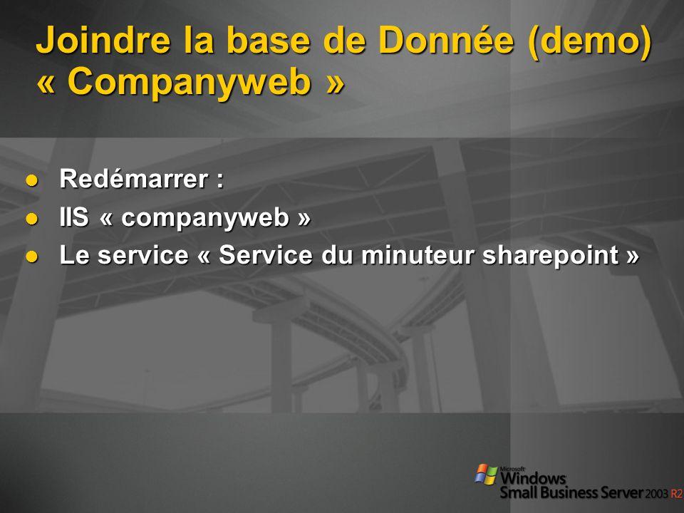 Joindre la base de Donnée (demo) « Companyweb »