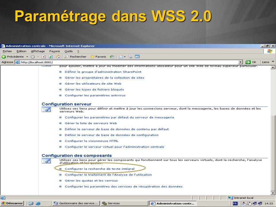 Paramétrage dans WSS 2.0