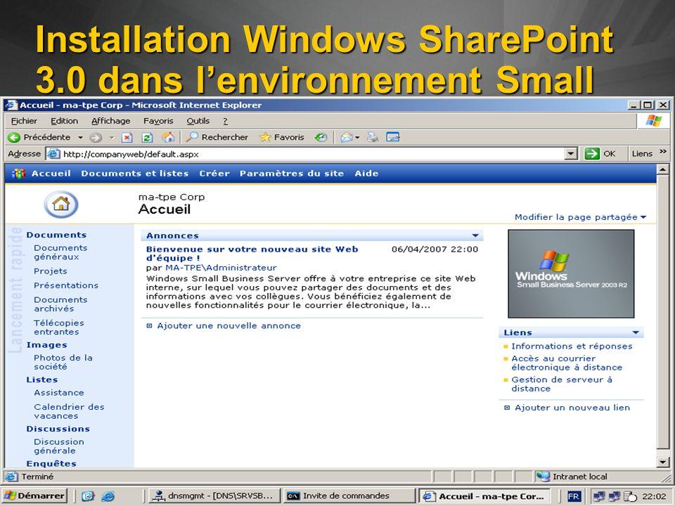 Installation Windows SharePoint 3