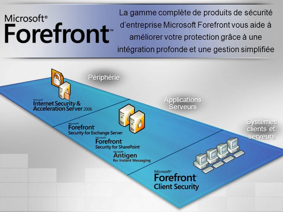 La gamme complète de produits de sécurité d'entreprise Microsoft Forefront vous aide à améliorer votre protection grâce à une intégration profonde et une gestion simplifiée
