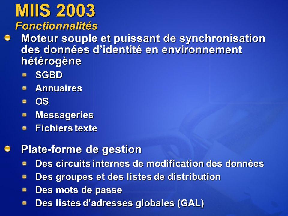 MIIS 2003 Fonctionnalités Moteur souple et puissant de synchronisation des données d'identité en environnement hétérogène.