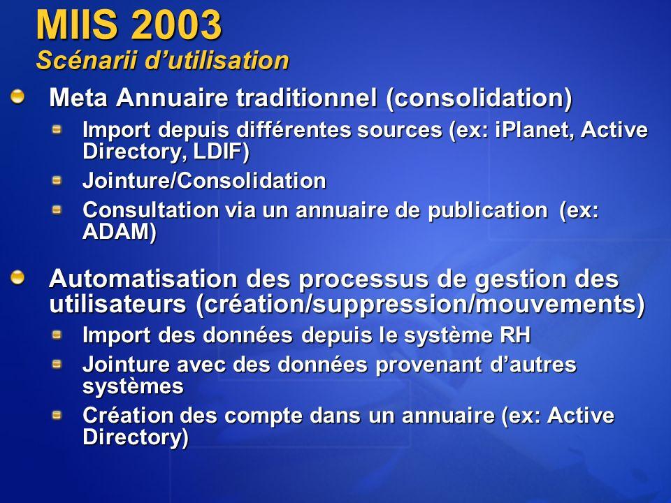 MIIS 2003 Scénarii d'utilisation