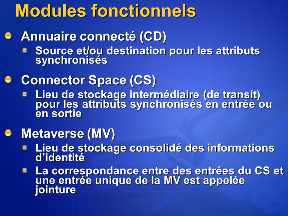 Modules fonctionnels Annuaire connecté (CD) Connector Space (CS)