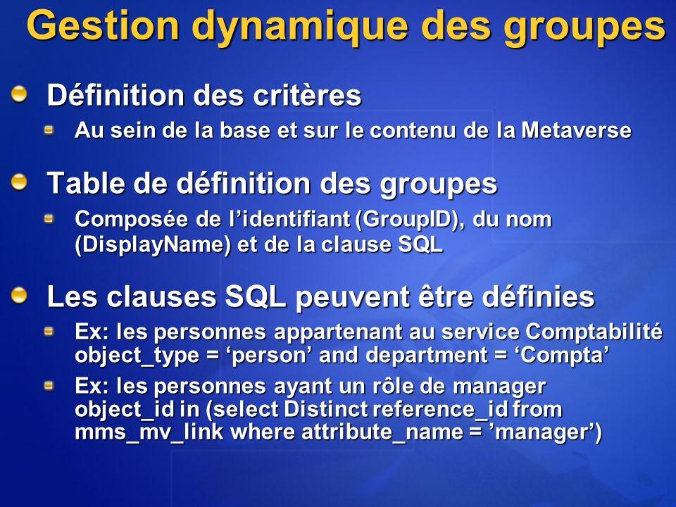 Gestion dynamique des groupes