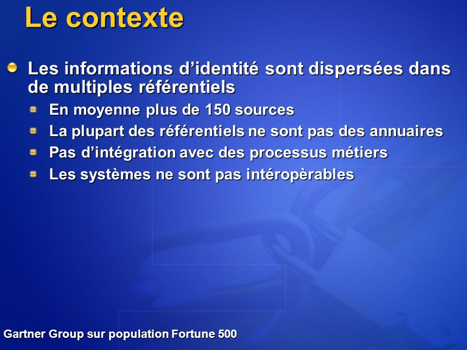 Le contexte Les informations d'identité sont dispersées dans de multiples référentiels. En moyenne plus de 150 sources.