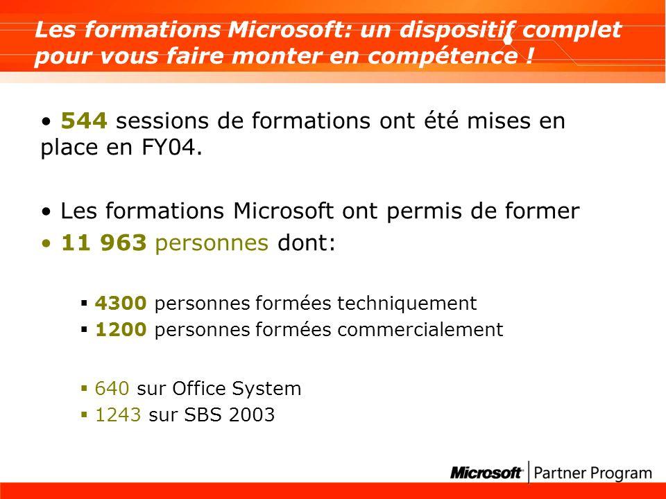 544 sessions de formations ont été mises en place en FY04.