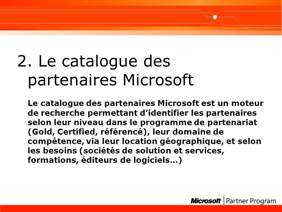 2. Le catalogue des partenaires Microsoft