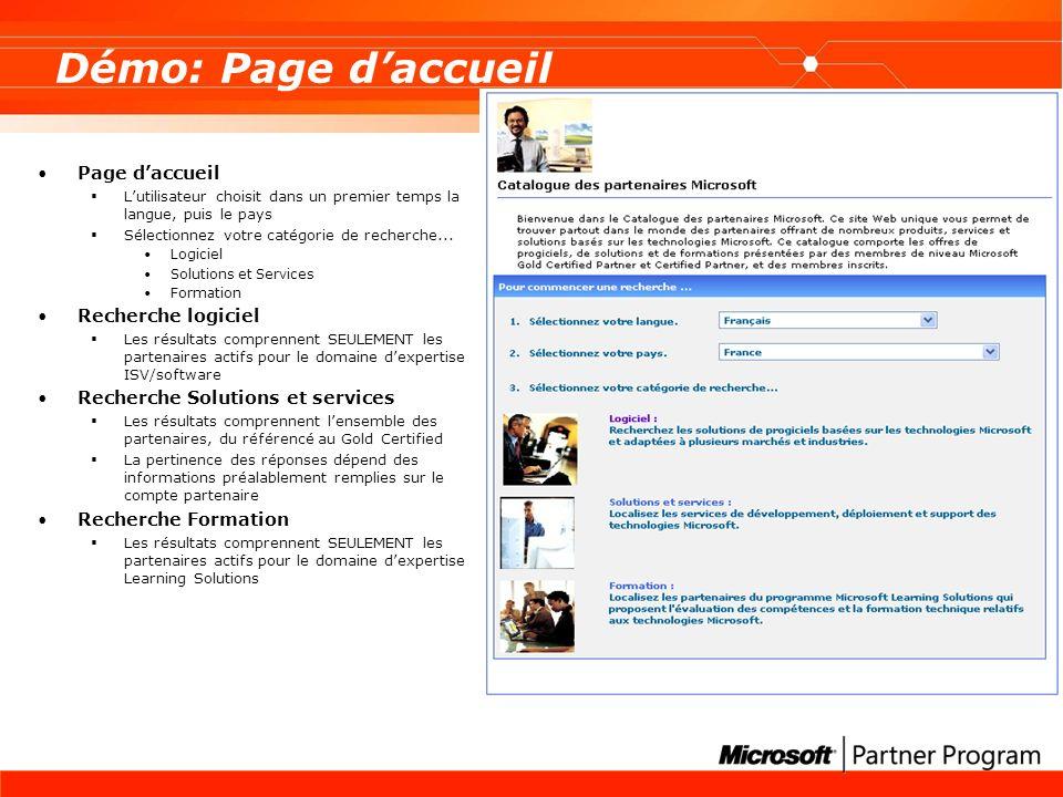 Démo: Page d'accueil Page d'accueil Recherche logiciel