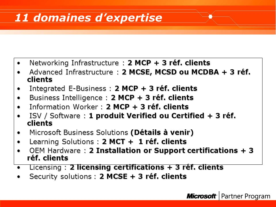 11 domaines d'expertise Networking Infrastructure : 2 MCP + 3 réf. clients. Advanced Infrastructure : 2 MCSE, MCSD ou MCDBA + 3 réf. clients.