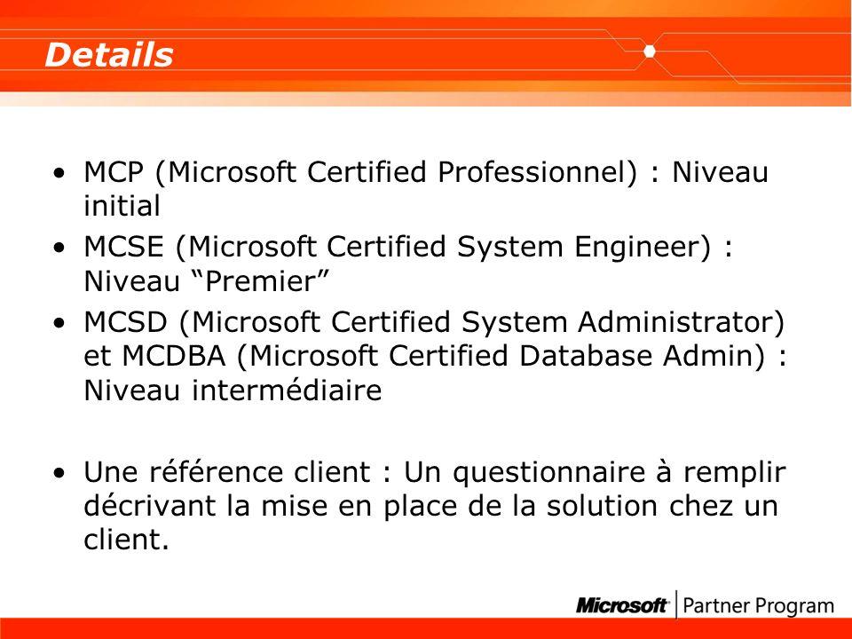 Details MCP (Microsoft Certified Professionnel) : Niveau initial